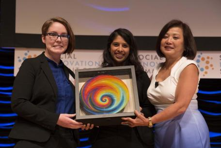 Teresa Cauvel '16SEAS and Sona Shah '16SEAS receive The Wireless and Mobile Innovation for Global Impact Award at the 2016 Social Innovation Summit.
